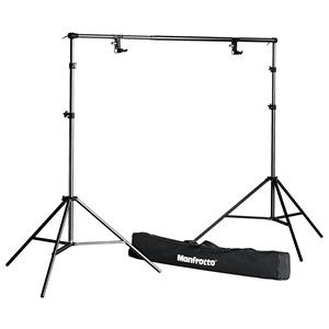 Unique Black Free Standing Background Support System, with Crossbar & Stands Product photo