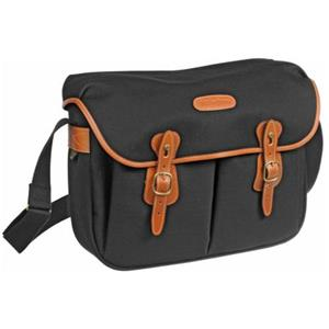 Lovable Hadley Large, SLR Camera System Shoulder Bag, Black Canvas with Tan Leather Trim and Brass Fittings Product photo