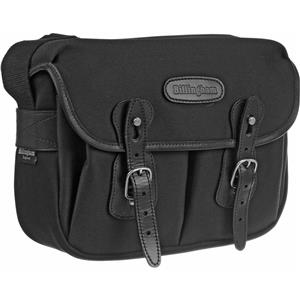 Info about Hadley Small, Camera or Document Shoulder Bag, Black Canvas with Black Leather Trim and Nickel Fitti Product photo