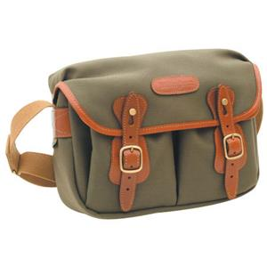Unique Hadley Small, Camera or Document Shoulder Bag, Sage Canvas with Tan Leather Trim and Brass Fittings. Product photo