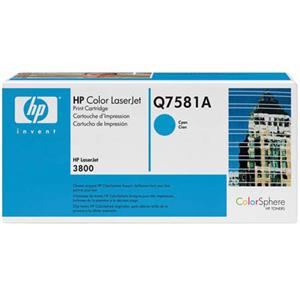 Beautiful Q7581A Cyan Color Print Cartridge for 3800 Series Color Laserjet Printers (Yield: Appx 6,000 Copies) Product photo
