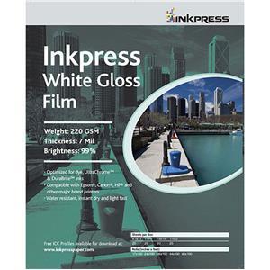"Choose White Gloss Inkjet Film, 7 mil., 220gsm, 17""x50' Roll. Product photo"