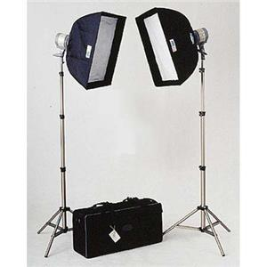 Tasteful DL-2000 Everlight Kit, with Two 1000 Watt Quartz Halogen Heads, Stands, Softboxes, Connectors, & Product photo