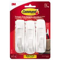 Image of 3M Command General Purpose Large Utility Hooks Multi-Pack, 3 Hooks & 6 Strips, 5lb Capacity, White