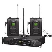 Image of Audio 2000s AWM6305U Professional UHF Wireless In-Ear Monitoring System with 100 Adjustable Frequency, Includes Receiver, 2x Transmitter, 2x Earphones and PVC Carrying Case