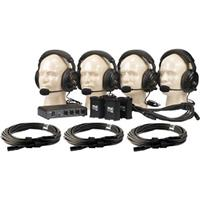 Anchor Audio Wired Intercom System with 2 Dual Headsets, 2 Single Headsets, 4 Belt Packs, PC-2000 2 Channel Power Console, 4 50' Cables, and Sturdy Cardboard Case