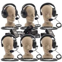 Anchor Audio Wired Intercom System with 2 Dual Headsets, 4 Single Headsets, 6 Belt Packs, PC-2000 2 Channel Power Console, 1 Branch Box, 7 50' Cables, and Sturdy Cardboard Case