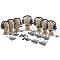 Anchor Audio PRO-570 Package with 5 x Dual Muff Headsets, 2 x Single Muff Headsets, 2 x Master Belt Pack, 5 x Remote Belt Pack, 2 x GC500 Gang Charger