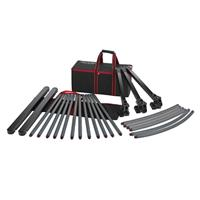 """Image of Acebil TR-480C Track Rail System, Includes 12x31.5"""" Aluminum Straight Rail Pieces, Tracking Dolly, 90-Degree Curved Rail Set, 2x Rail Stopper and Carrying Cases"""