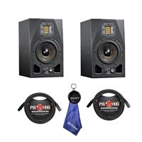 """Image of Adam Audio 2 Pack A5X 5.5"""" 100W 2-Way Active Nearfield Monitor, Single - Bundle With 2 Pack 15' 8mm XLR Microphone Cable, Fiber Optic Cleaning Cloth"""