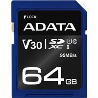 ADATA Premier Pro 64GB SDXC UHS-I Class 10 (U3) Memory Card, V30 Video Speed Class