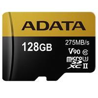 ADATA Premier ONE 128GB microSDXC UHS-II Class 10 (U3) Memory Card with SD Adapter, V90 Video Speed Class