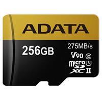 ADATA Premier ONE 256GB microSDXC UHS-II Class 10 (U3) Memory Card with SD Adapter, V90 Video Speed Class
