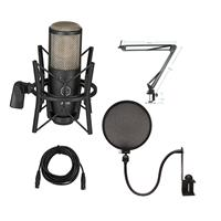 Image of AKG Acoustics Project Studio P220 Large Diaphragm Condenser Microphone - Bundle With Technical ARM1 Microphone Suspension Crane Arm, Nady SPF-1 Microph one Pop Filter, 25' XLR M to XLR F Mic Cable