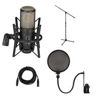 Image of AKG Acoustics Project Studio P220 Large Diaphragm Condenser Microphone - Bundle With Ultimate JS-MCTB200 Tripod Microphone Stand, Nady SPF-1 Microph on e Pop Filter, 25' XLR M to XLR F Mic Cable