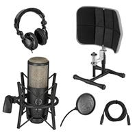 Image of AKG Acoustics Project Studio P220 Large Diaphragm Condenser Microphone, Bundle With Professional Desktop Isolation Filter, Studio Monitor Headphones, 15' XLR M to XLR F Mic Cable, Pop Filter