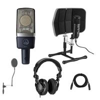 Image of AKG Acoustics C214 Edge-Terminated Large Diaphragm Condenser Microphone - Bundle With Desktop Isolation Filter (Gray), H&A Studio Monitor Headphones, 15' XLR M to XLR F Mic Cable, On-Stage Pop Blocker
