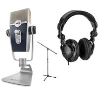 Image of AKG Acoustics Lyra Multipattern USB Condenser Microphone - Bundle With Ultimate Support JamStands JS-MCTB200 Tripod Microphone Stand, H&A Closed-Back Studio Monitor Headphones