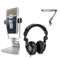 Image of AKG Acoustics Lyra Multipattern USB Condenser Microphone - Bundle With Technical Pro ARM1 Microphone Suspension Crane Arm, H&A Closed-Bac k Studio Monitor Headphones