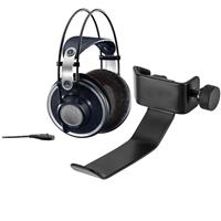 AKG Acoustics K 702 Open-Back Dynamic Headphone for Monitoring, Mastering and Mixing - With H&A Clamp On Headphone Holder For Mic Stand