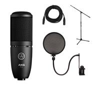 Image of AKG Acoustics Project Studio P120 Medium Diaphragm Cardioid Condenser Microphone, 20Hz-20kHz Response, Black - Bundle With Ultimate JS-MCTB200 Tripod Microphone Stand, Nady SPF-1 Microphone Pop Filter, XLR M to F Pro Mic Cable 25'