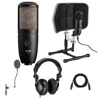 Image of AKG Acoustics P420 Large Diaphragm Dual-Capsule True Condenser Microphone - Bundle With Desktop Isolation Filter (Gray), H&A Studio Monitor Headphones, 15' XLR M to XLR F Mic Cable, On-Stage Pop Blocker
