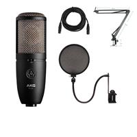 Image of AKG Acoustics P420 Large Diaphragm Dual-Capsule True Condenser Microphone with Switchable Polar Patterns - Bundle With Technical ARM1 Microphone Crane Arm, Nady SPF-1 Microphone Pop Fil ter, 25' XLR M to XLR F Mic Cable