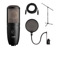 Image of AKG Acoustics P420 Large Diaphragm Dual-Capsule True Condenser Microphone with Switchable Polar Patterns - Bundle With Ultimate JS-MCTB200 Tripod Microphone Stand, Nady SPF-1 Mic Pop Fi lter, XLR M to F Pro Mic Cable 25'