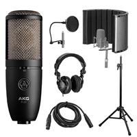 Image of AKG Acoustics P420 Large Diaphragm Dual-Capsule True Condenser Microphone with Switchable Polar Patterns, 20Hz-20kHz Frequency Response with Vocal Recording Setup Kit