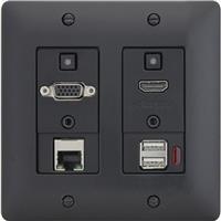 Image of Aurora Multimedia 2-Input HDBaseT VGA/HDMI/LAN/USB 2.0 330'/600' HDMI/230' USB 2.0 Wall Plate Extender with 4x35W Amplifier, Black
