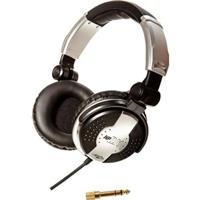 """Image of Apex HPDJ1 Closed Ear Folding Stereo Headphones with Swivel Options and 1/4"""" Stereo Adapter"""
