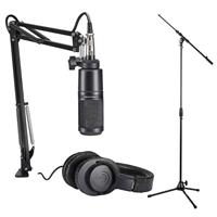 Image of Audio-Technica AT2020 Podcasting Studio Microphone Pack with ATH-M20x Headphones, Boom & XLR Cable Bundle with H&A Tripod Microphone Stand with Telescoping Boom