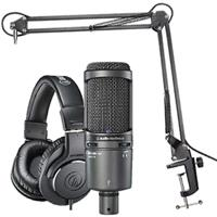 Audio-Technica AT2020USB+ Streaming/Podcasting Microphone Pack with ATH-M20x Headphones, Boom & USB Cable