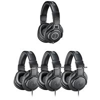 Audio-Technica ATH-PACK4 Monitor 4 Pack Headphones, Includes 3x ATH-M20x Monitor Headphones and 1x ATH-M40x Monitor Headphones