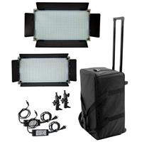 Image of Alzo Digital 16x9 Bi-Color Light Kit, Includes 1x 800 LED Panel Light, 1x 500 LED Panel Light, Case