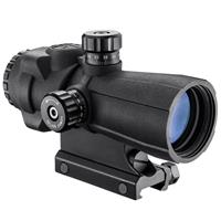 Image of Barska 4x32 AR-X PRO Prism Rubber Armored Riflescope, Matte Black with Illuminated Red/Green/Blue Cross Dot Reticle, Integrated Picatinny Mount