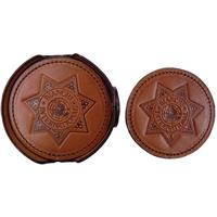 Image of Bianchi Model 930 Leather Coasters, Star Logo, Set of 6, Plain Tan