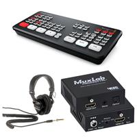 Image of Blackmagic Design ATEM Mini Pro ISO Live Production Switcher - Bundle With Sony MDR-7506 Professional Folding Headphones, Muxlab HDMI to HDMI with Audio Extraction, 4K/60
