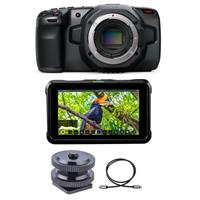 """Image of Blackmagic Design Pocket Cinema Camera 6K - Bundle With Atomos Shinobi 5.2"""" IPS Touchscreen Full HD HDR Photo and Video Monitor, Hot Shoe Foot to 1/4""""-20 Screw Adapter, HDMI 2.0 Cable with Ethernet 10'"""