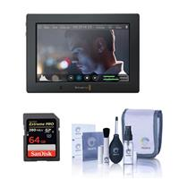 """Blackmagic Design Blackmagic Video Assist 4K 7"""" Touchscreen LCD Monitor with Ultra HD Recorder, SanDisk 64GB ExtremePro UHS-II U3 SDXC Memory Card and Cleaning Kit, 1920x1200"""