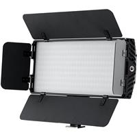 Image of Bescor Photon Metal Bi-Color On-Camera LED Light with Built-In Barndoors and Digital Display