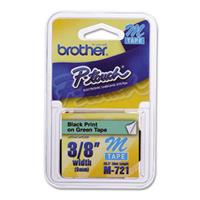 """Image of Brother 0.35"""" Black On Green Labeling Tape, 26.2' Roll"""