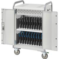 Bretford Link L MDMLAP20NR 20-Unit Network Ready Storage Cart for Laptop/Netbook, Aluminum Handles, Concrete Paint