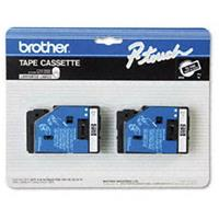 """Image of Brother 0.35"""" White On Black Tape for P-Touch Labelers, 25.2', 2 Pack"""