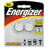 Energizer 2016BP-2N 2016 3V Lithium Coin Battery for Heart-Rate Monitors, Keyless Entry, Glucose Monitors, Toys and Games, 2 Pack