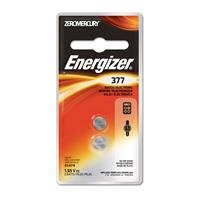 Energizer 377 1.5V Zero-Mercury Silver Oxide Battery for Watches, Toys, Glucose Monitors and Calculators, 2 Pack