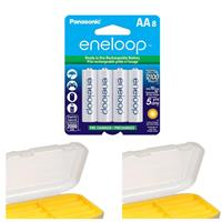 Image of Panasonic Eneloop AA 2000mAh Rechargeable Ni-MH Battery with Dot Line AA Battery Case, 8-Pack
