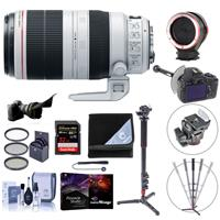 Image of Canon EF 100-400mm f/4.5-5.6L IS II USM Zoom Lens - Bundle with 77mm Filter Kit, 4 Section Monopod, Lens Changing Kit Adapter, FocusShifter DSLR Follow Focus, 32GB SDHC Card, Pro Software, And More