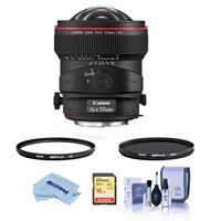 Image of Canon TS-E 17mm f/4L Tilt-Shift Manual Focusing Lens for EOS USA - Bundle With Hoya 77mm 10-Layer HMC UV Filter, Hoya 77mm HMC Circular Polarizer Filter, 16GB SDHC Card, Cleaning Kit, M/Fiber Cloth