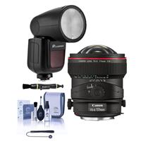 Image of Canon TS-E 17mm f/4L Tilt-Shift Lens - With Flashpoint Zoom Li-on X R2 TTL On-Camera Round Flash Speedlight For Canon, Cleaning Kit, Capleash, Lens Cleaner